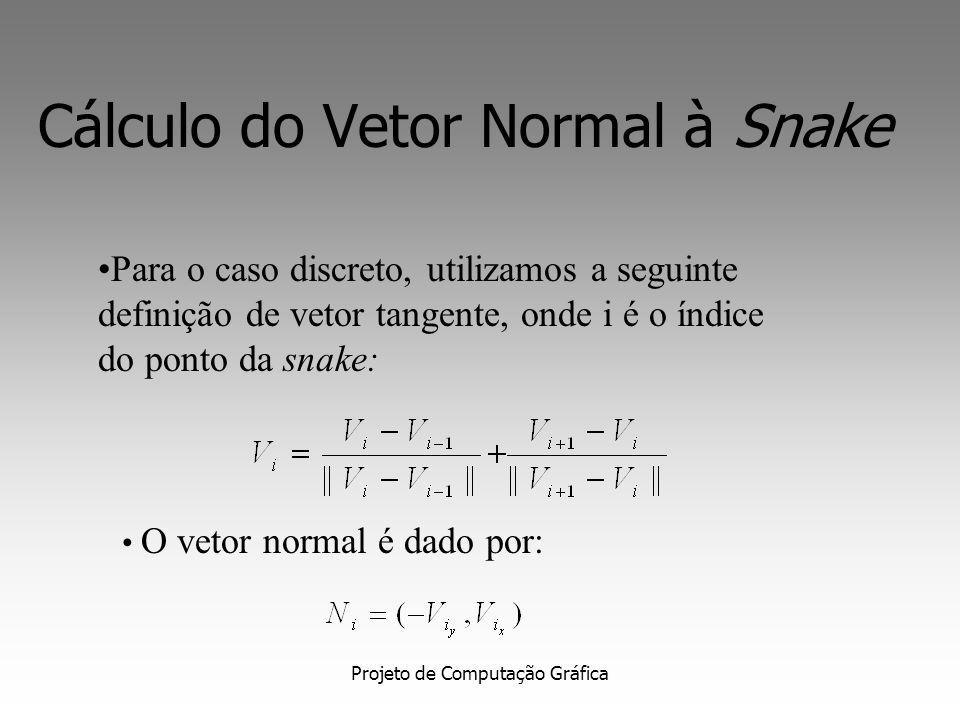 Projeto de Computação Gráfica Cálculo do Vetor Normal Cálculo do vetor normal a cada ponto da curva. Dada uma curva,definida como: O vetor tangente é