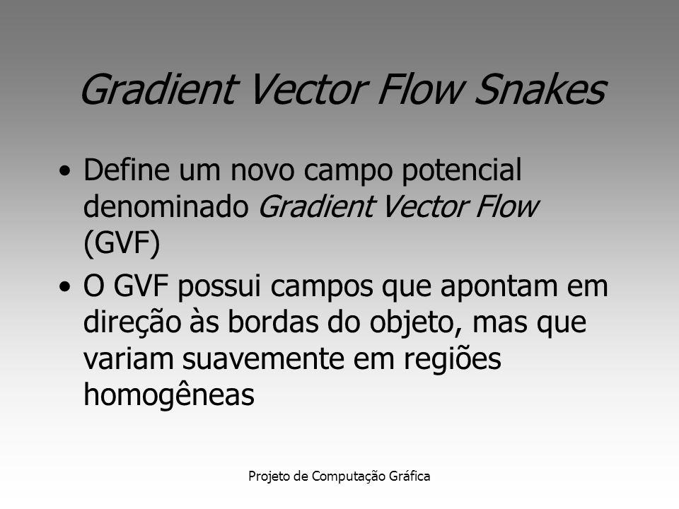 Projeto de Computação Gráfica Gradient Vector Flow Snakes Edge Map: Possui três propriedades principais: 1. tem vetores apontando para as arestas e, n