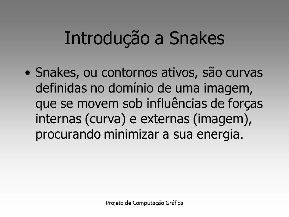 Projeto de Computação Gráfica Introdução a Snakes Snakes, ou contornos ativos, são curvas definidas no domínio de uma imagem, que se movem sob influências de forças internas (curva) e externas (imagem), procurando minimizar a sua energia.
