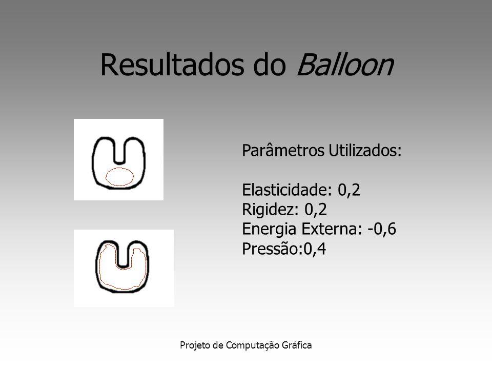 Projeto de Computação Gráfica Resultados do Balloon Parâmetros: Elasticidade: 0,8 Rigidez: -0,4 Energia Externa: -1,0 Pressão:-0,6
