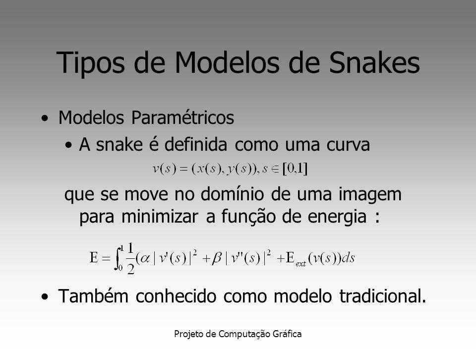 Projeto de Computação Gráfica Tipos de Modelos de Snakes Modelos Paramétricos A snake é definida como uma curva que se move no domínio de uma imagem para minimizar a função de energia : Também conhecido como modelo tradicional.
