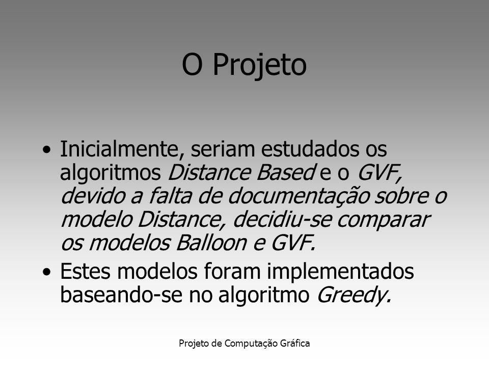 Projeto de Computação Gráfica Gradient Vector Flow Snakes Define um novo campo potencial denominado Gradient Vector Flow (GVF) O GVF possui campos que apontam em direção às bordas do objeto, mas que variam suavemente em regiões homogêneas