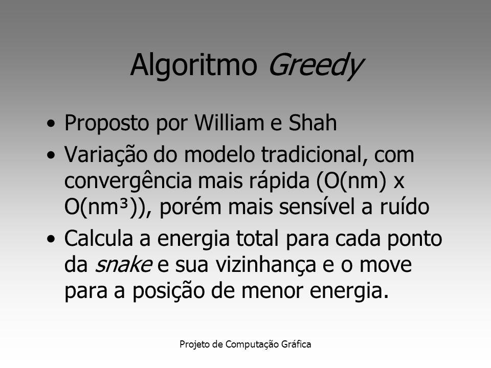 Projeto de Computação Gráfica Algoritmo Greedy Proposto por William e Shah Variação do modelo tradicional, com convergência mais rápida (O(nm) x O(nm³)), porém mais sensível a ruído Calcula a energia total para cada ponto da snake e sua vizinhança e o move para a posição de menor energia.