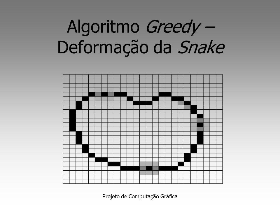 Projeto de Computação Gráfica Gradient Vector Flow Snake Definido como o campo vetorial que minimiza a energia funcional: Computado através de um processo de difusão dos vetores gradiente do edge map da imagem