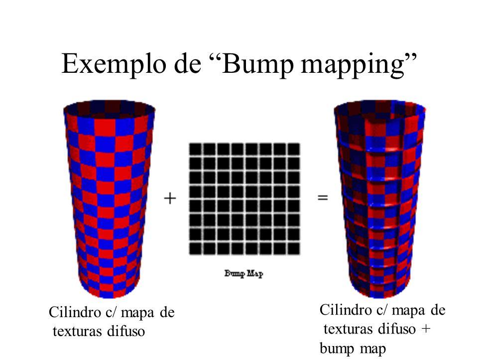 "Exemplo de ""Bump mapping"" Cilindro c/ mapa de texturas difuso Cilindro c/ mapa de texturas difuso + bump map"