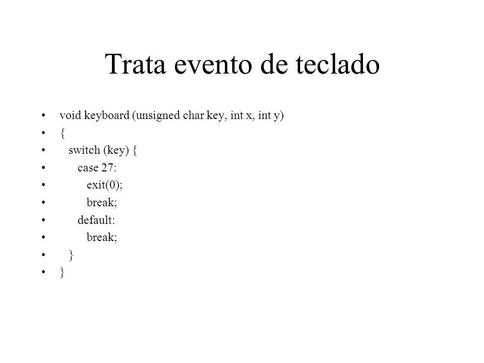 Trata evento de teclado void keyboard (unsigned char key, int x, int y) { switch (key) { case 27: exit(0); break; default: break; }