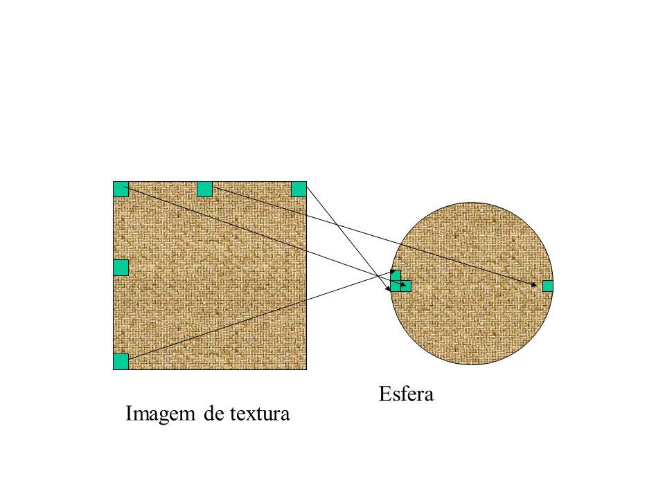 Bump mapping Mapeamento básico de textura pinta numa superfície suave Tornando a superfície rugosa: –Opção 1: modelar a superfície com muitos polígonos pequenos –Opção 2: perturbar o vetor normal antes de calcular sombreamento Esfera com mapa de texturas difuso Bump map Esfera com mapa de texturas difuso + bump map
