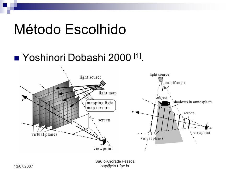 Saulo Andrade Pessoa sap@cin.ufpe.br 13/07/2007 Método Escolhido Yoshinori Dobashi 2000 [1].