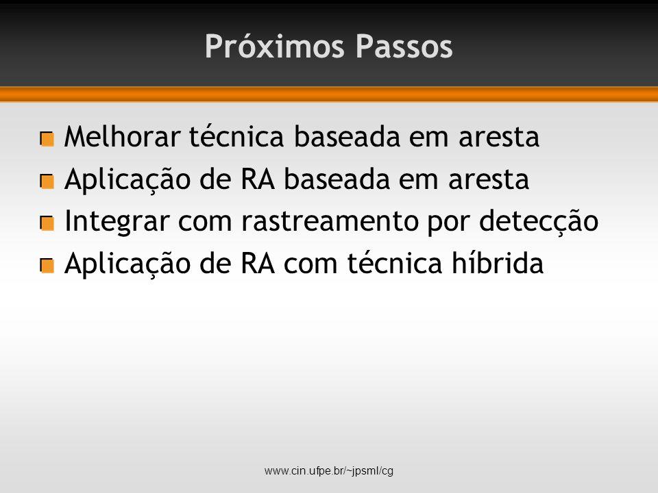 Próximos Passos Melhorar técnica baseada em aresta Aplicação de RA baseada em aresta Integrar com rastreamento por detecção Aplicação de RA com técnica híbrida www.cin.ufpe.br/~jpsml/cg