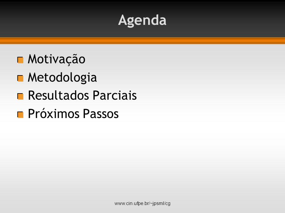 Agenda Motivação Metodologia Resultados Parciais Próximos Passos www.cin.ufpe.br/~jpsml/cg