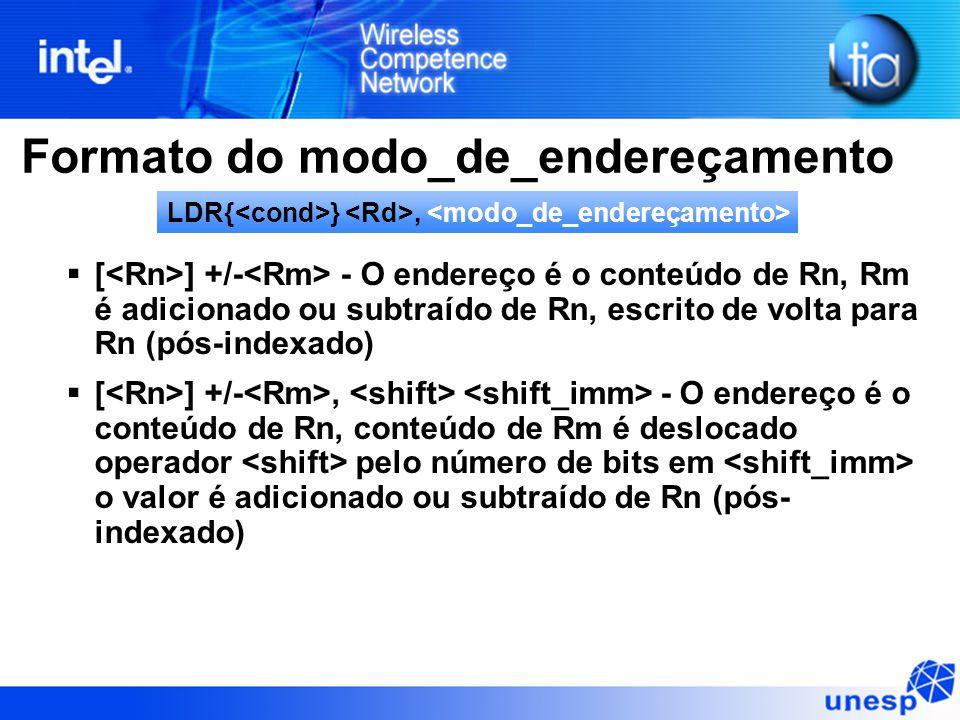 Formato do modo_de_endereçamento  [ ] +/- - O endereço é o conteúdo de Rn, Rm é adicionado ou subtraído de Rn, escrito de volta para Rn (pós-indexado)  [ ] +/-, - O endereço é o conteúdo de Rn, conteúdo de Rm é deslocado operador pelo número de bits em o valor é adicionado ou subtraído de Rn (pós- indexado) LDR{ },