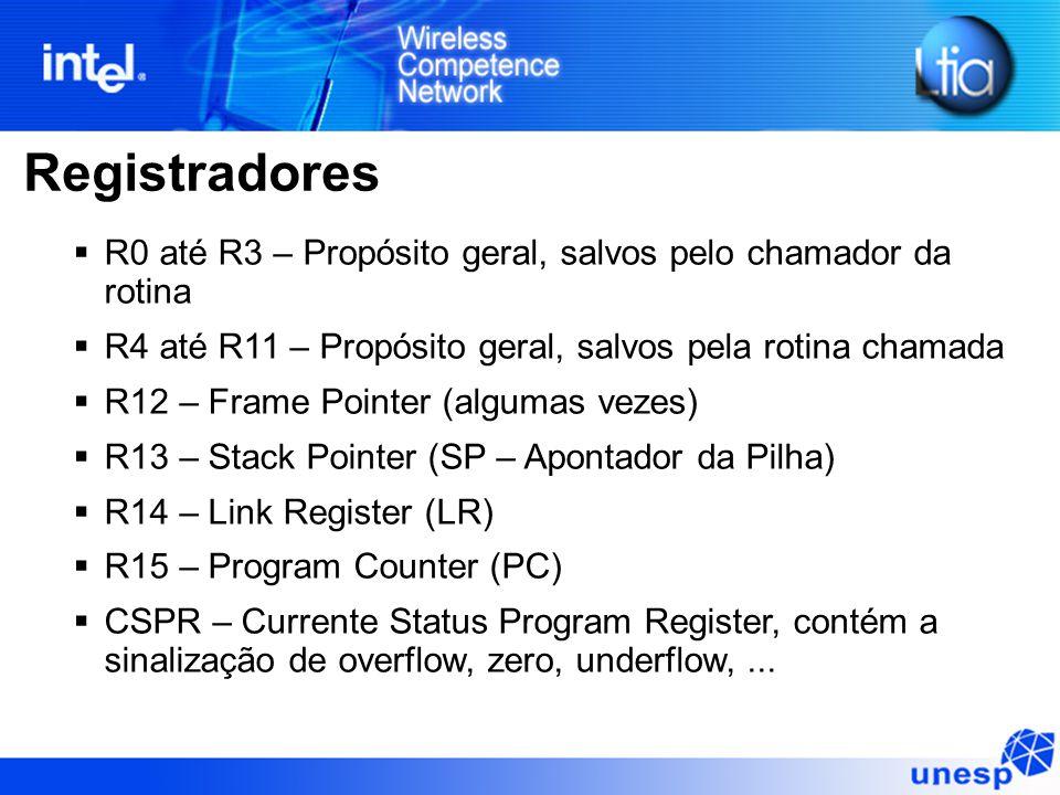 Registradores  R0 até R3 – Propósito geral, salvos pelo chamador da rotina  R4 até R11 – Propósito geral, salvos pela rotina chamada  R12 – Frame Pointer (algumas vezes)  R13 – Stack Pointer (SP – Apontador da Pilha)  R14 – Link Register (LR)  R15 – Program Counter (PC)  CSPR – Currente Status Program Register, contém a sinalização de overflow, zero, underflow,...