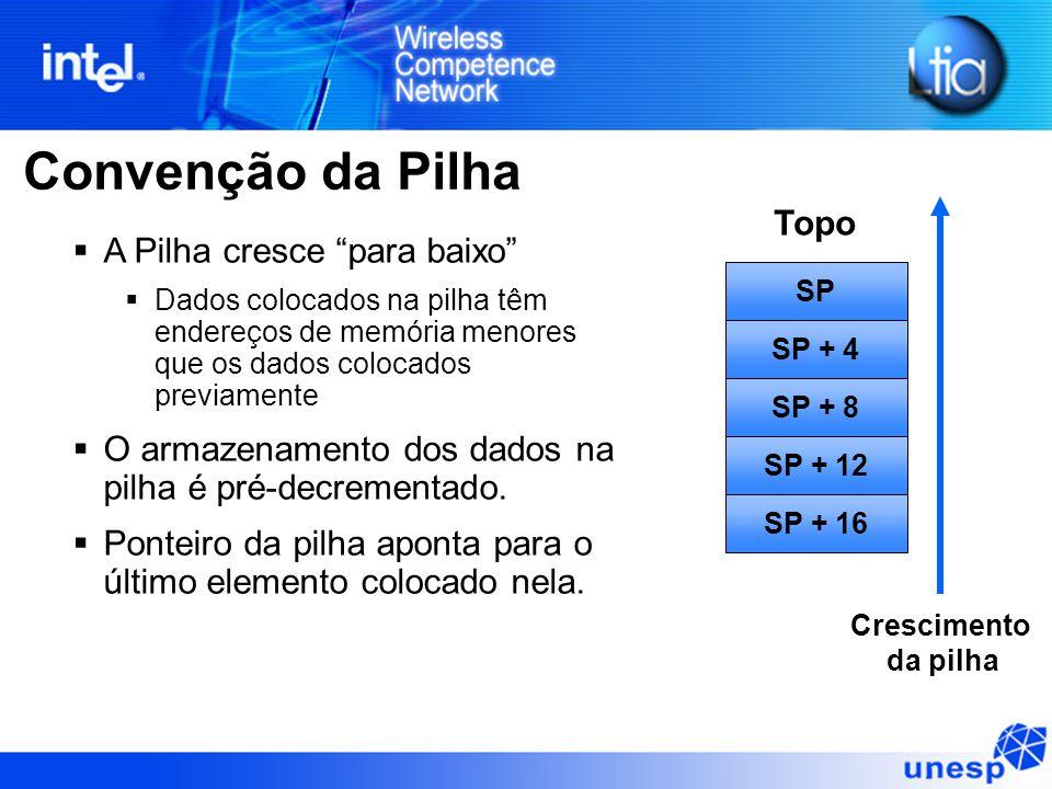 Convenção da Pilha  A Pilha cresce para baixo  Dados colocados na pilha têm endereços de memória menores que os dados colocados previamente  O armazenamento dos dados na pilha é pré-decrementado.