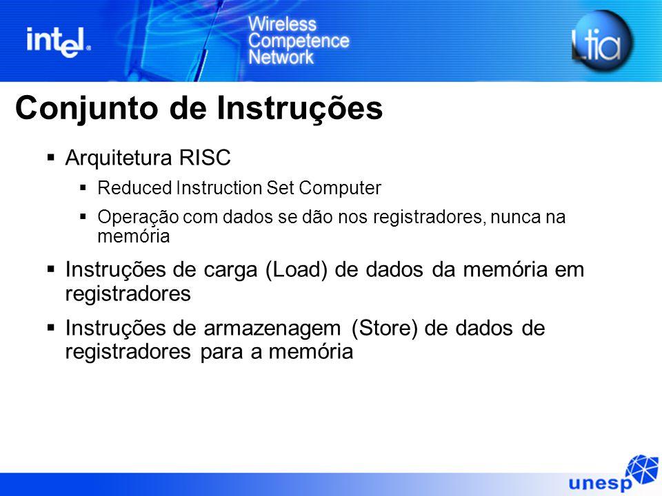 Conjunto de Instruções  Arquitetura RISC  Reduced Instruction Set Computer  Operação com dados se dão nos registradores, nunca na memória  Instruções de carga (Load) de dados da memória em registradores  Instruções de armazenagem (Store) de dados de registradores para a memória
