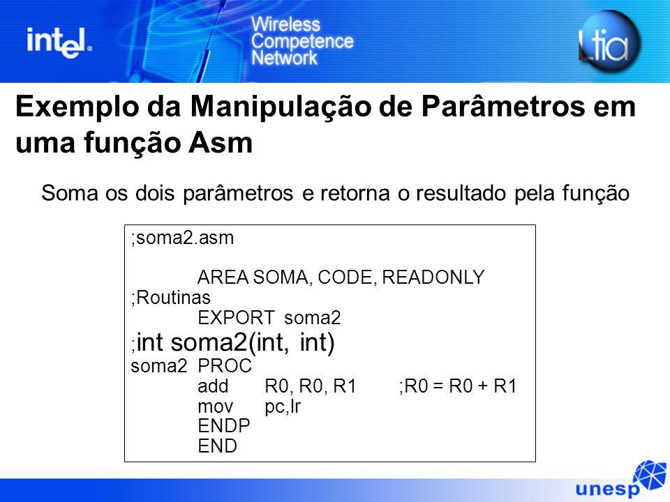 Exemplo da Manipulação de Parâmetros em uma função Asm ;soma2.asm AREA SOMA, CODE, READONLY ;Routinas EXPORT soma2 ; int soma2(int, int) soma2PROC addR0, R0, R1;R0 = R0 + R1 mov pc,lr ENDP END Soma os dois parâmetros e retorna o resultado pela função