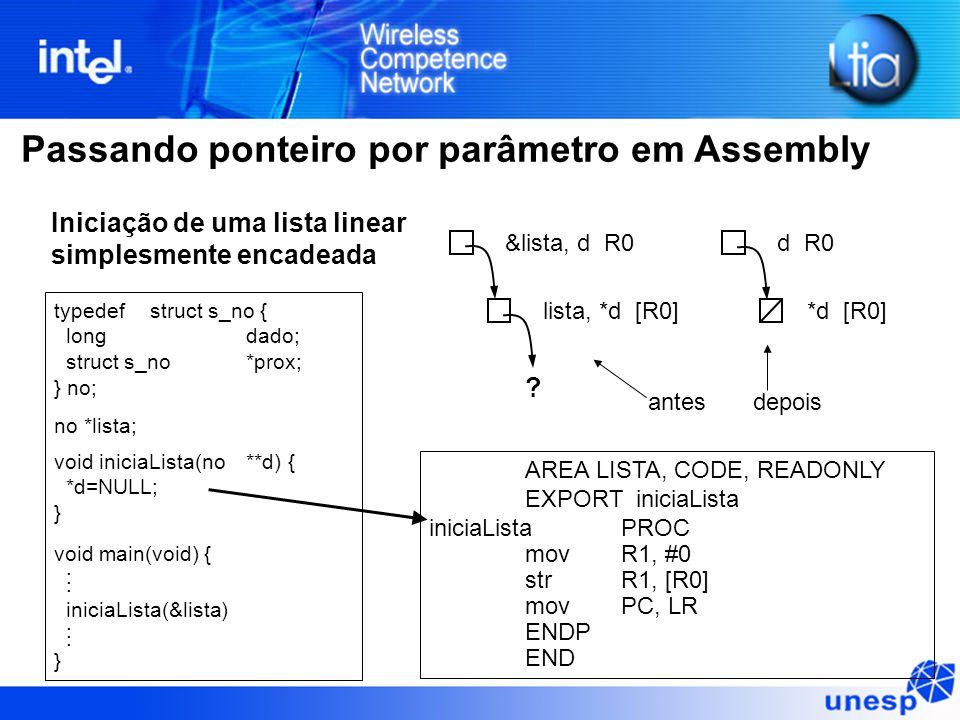 Passando ponteiro por parâmetro em Assembly typedefstruct s_no { longdado; struct s_no*prox; } no; no *lista; void iniciaLista(no**d) { *d=NULL; } void main(void) {.