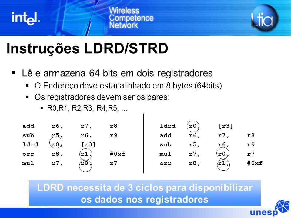 Instruções LDRD/STRD  Lê e armazena 64 bits em dois registradores  O Endereço deve estar alinhado em 8 bytes (64bits)  Os registradores devem ser os pares:  R0,R1; R2,R3; R4,R5;...