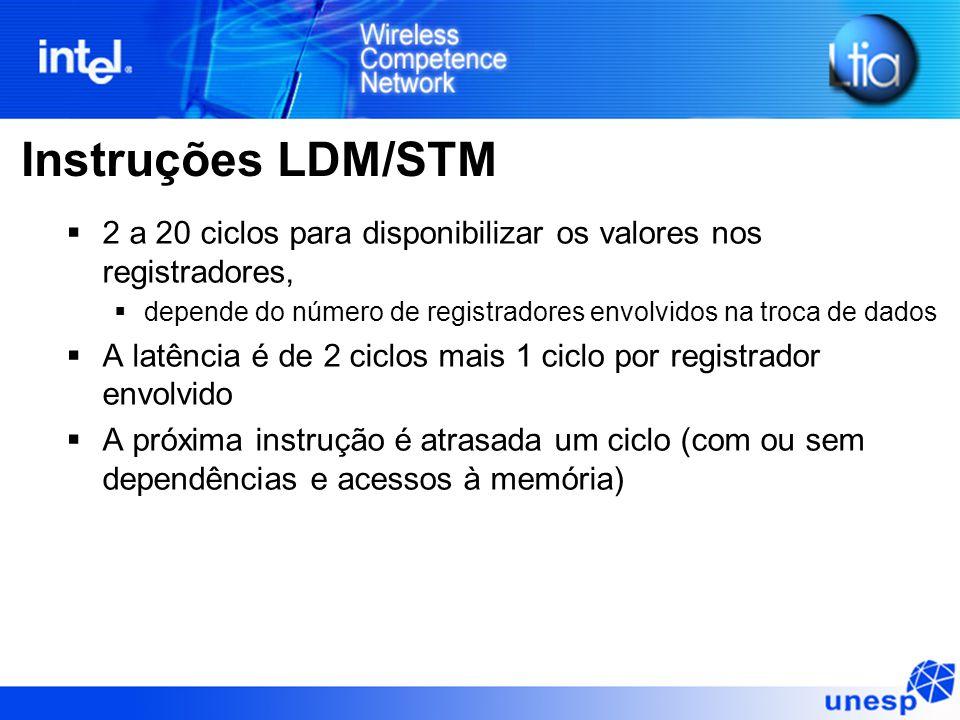 Instruções LDM/STM  2 a 20 ciclos para disponibilizar os valores nos registradores,  depende do número de registradores envolvidos na troca de dados  A latência é de 2 ciclos mais 1 ciclo por registrador envolvido  A próxima instrução é atrasada um ciclo (com ou sem dependências e acessos à memória)