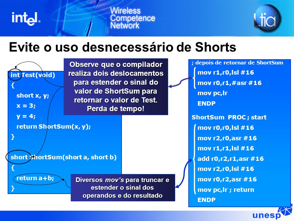 Evite o uso desnecessário de Shorts int Test(void) { short x, y; x = 3; y = 4; return ShortSum(x, y); } short ShortSum(short a, short b) { return a+b; } ; depois de retornar de ShortSum mov r1,r0,lsl #16 mov r0,r1,#asr #16 mov pc,lr ENDP ShortSum PROC ; start mov r0,r0,lsl #16 mov r2,r0,asr #16 mov r1,r1,lsl #16 add r0,r2,r1,asr #16 mov r2,r0,lsl #16 mov r0,r2,asr #16 mov pc,lr ; return ENDP Observe que o compilador realiza dois deslocamentos para estender o sinal do valor de ShortSum para retornar o valor de Test.