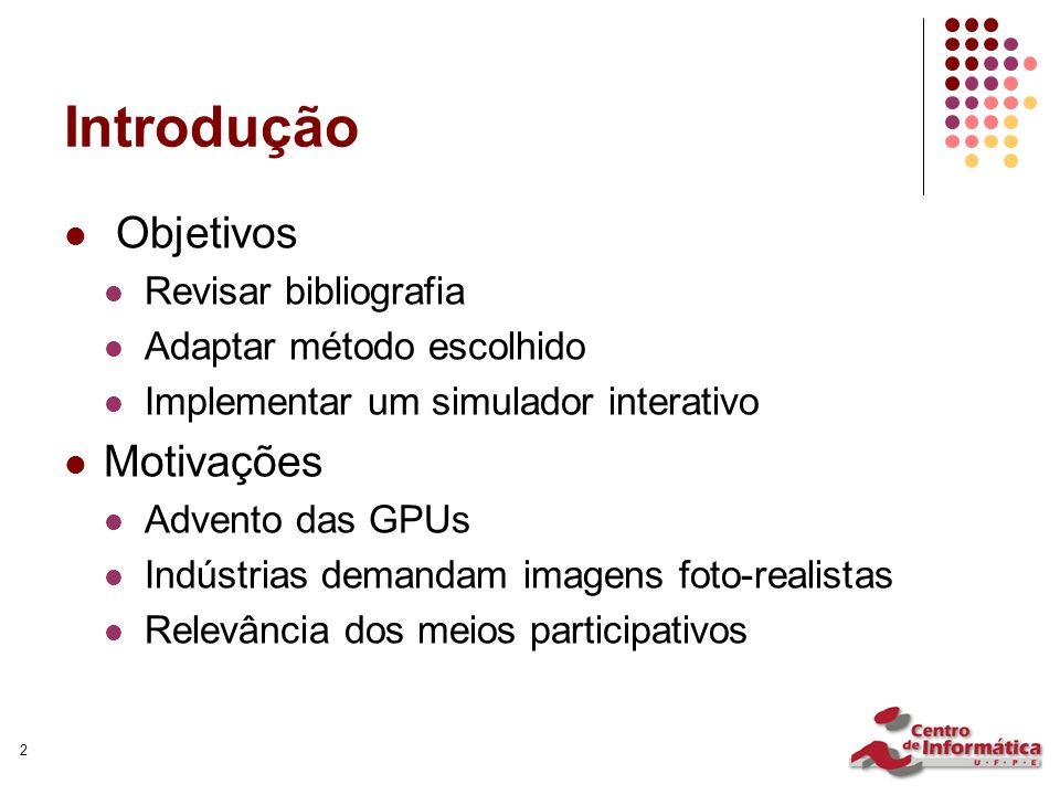 2 Introdução Objetivos Revisar bibliografia Adaptar método escolhido Implementar um simulador interativo Motivações Advento das GPUs Indústrias demand