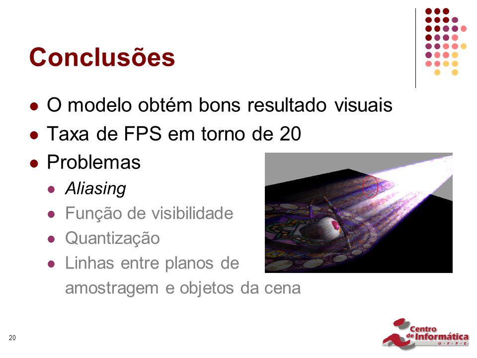 20 Conclusões O modelo obtém bons resultado visuais Taxa de FPS em torno de 20 Problemas Aliasing Função de visibilidade Quantização Linhas entre planos de amostragem e objetos da cena