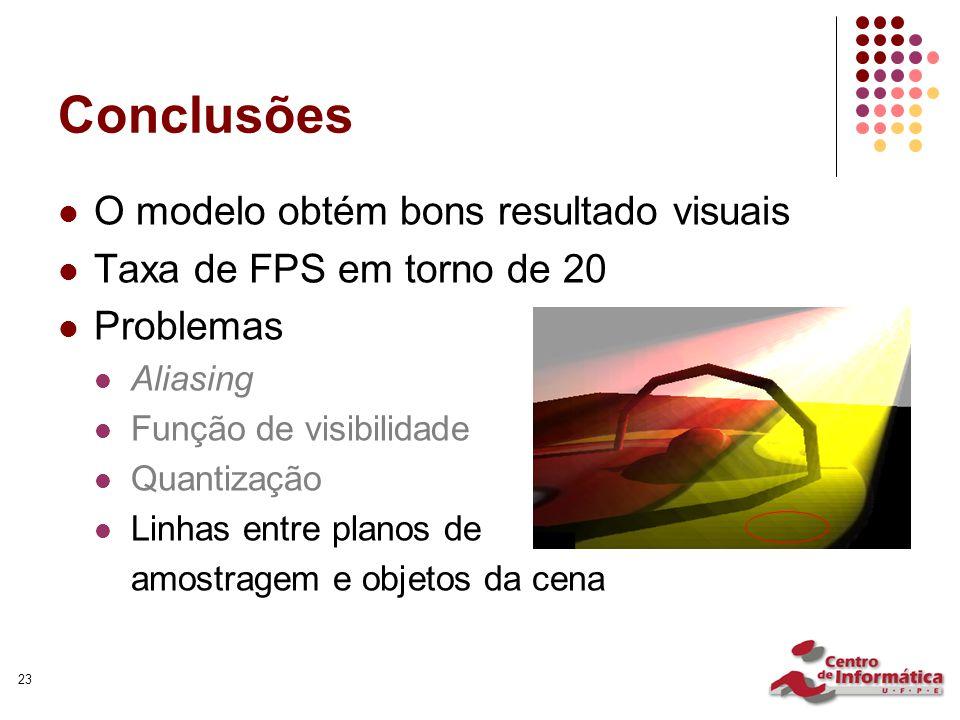 23 Conclusões O modelo obtém bons resultado visuais Taxa de FPS em torno de 20 Problemas Aliasing Função de visibilidade Quantização Linhas entre plan