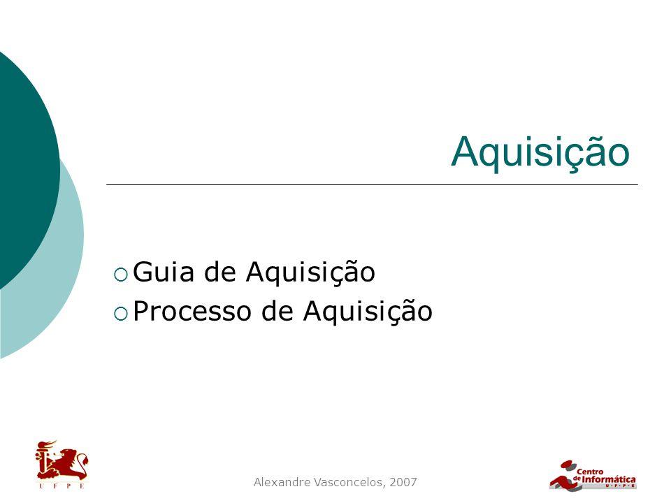 Alexandre Vasconcelos, 2007 Aquisição  Guia de Aquisição  Processo de Aquisição