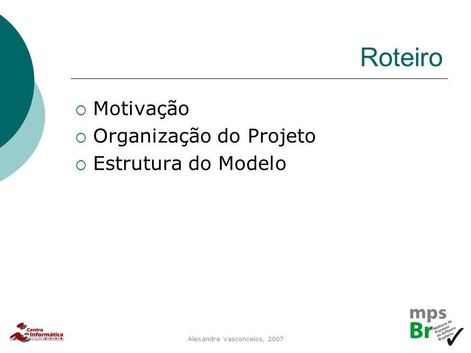Alexandre Vasconcelos, 2007 Roteiro  Motivação  Organização do Projeto  Estrutura do Modelo