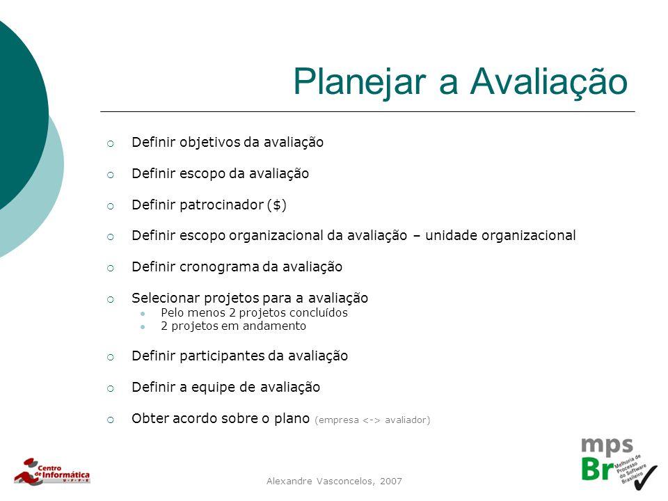 Alexandre Vasconcelos, 2007 Planejar a Avaliação  Definir objetivos da avaliação  Definir escopo da avaliação  Definir patrocinador ($)  Definir e