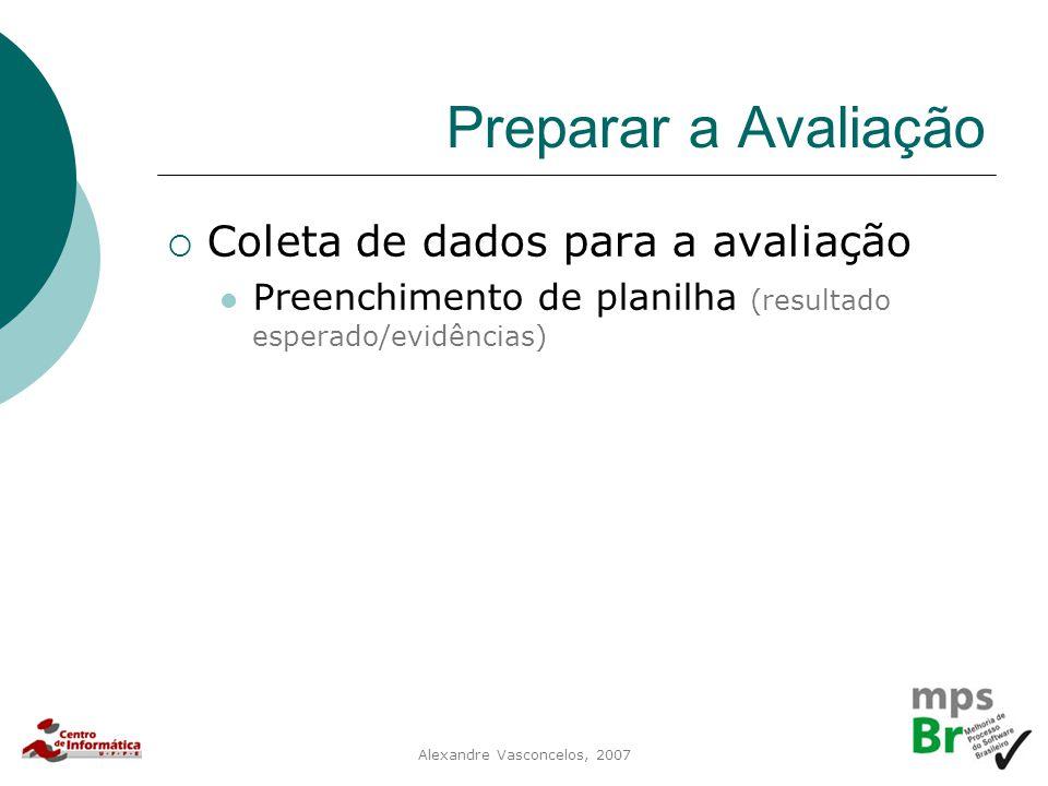 Alexandre Vasconcelos, 2007 Preparar a Avaliação  Coleta de dados para a avaliação Preenchimento de planilha (resultado esperado/evidências)