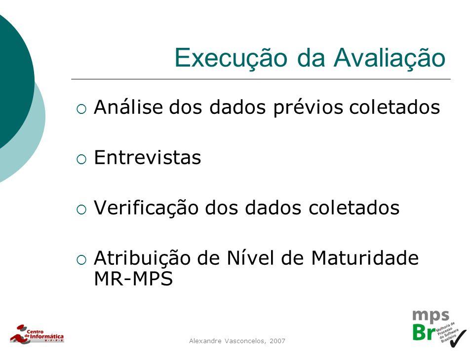 Alexandre Vasconcelos, 2007 Execução da Avaliação  Análise dos dados prévios coletados  Entrevistas  Verificação dos dados coletados  Atribuição d