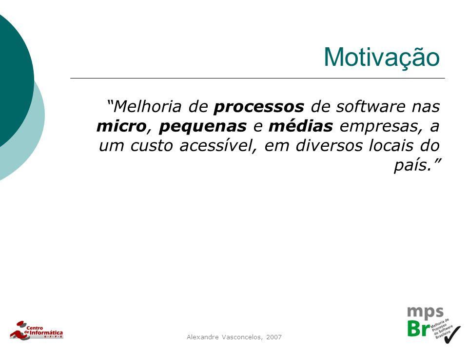 """Alexandre Vasconcelos, 2007 Motivação """"Melhoria de processos de software nas micro, pequenas e médias empresas, a um custo acessível, em diversos loca"""