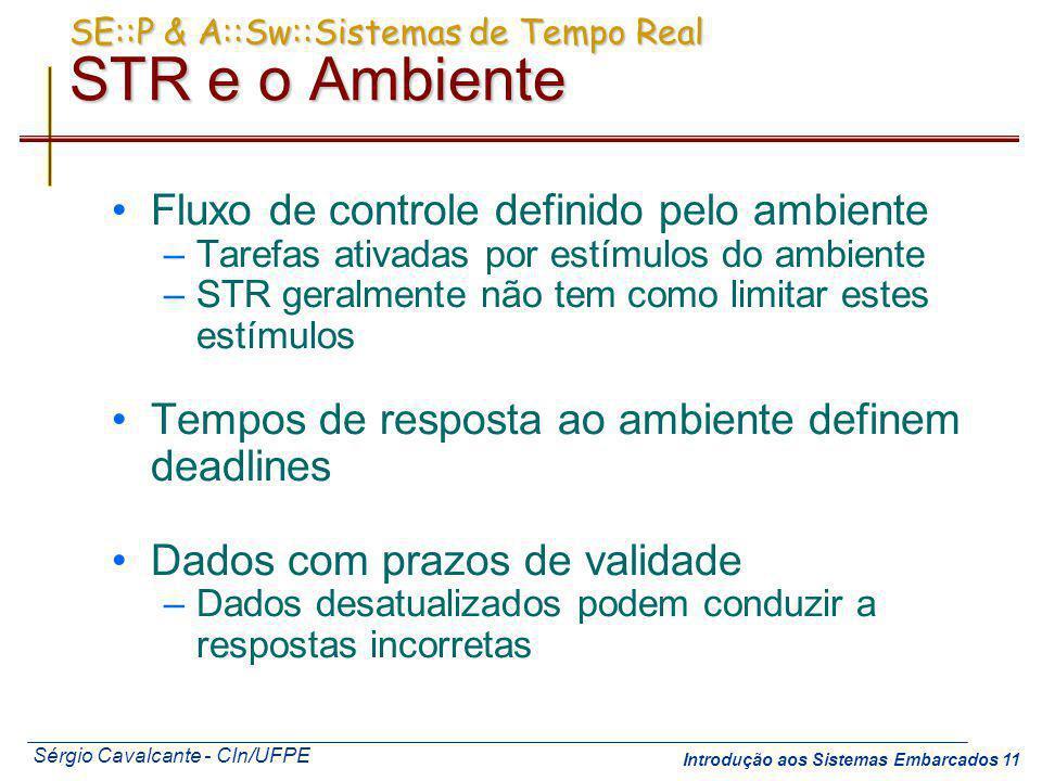 Sérgio Cavalcante - CIn/UFPE Introdução aos Sistemas Embarcados 11 SE::P & A::Sw::Sistemas de Tempo Real STR e o Ambiente Fluxo de controle definido p