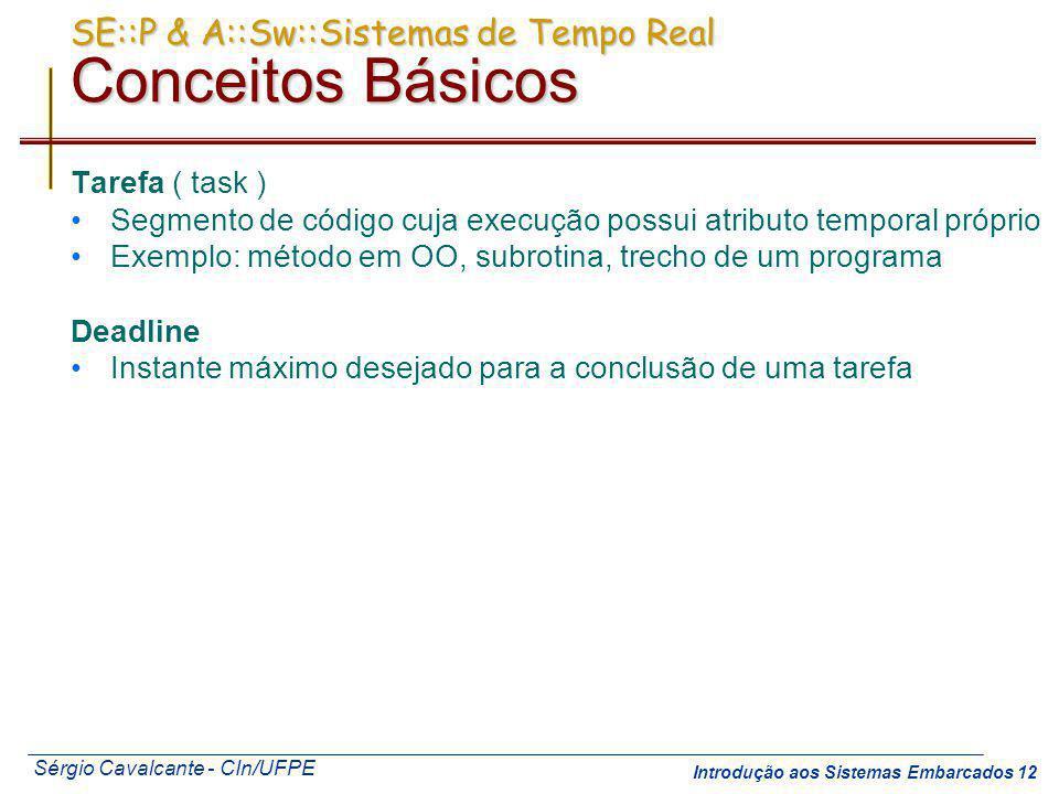 Sérgio Cavalcante - CIn/UFPE Introdução aos Sistemas Embarcados 12 SE::P & A::Sw::Sistemas de Tempo Real Conceitos Básicos Tarefa ( task ) Segmento de
