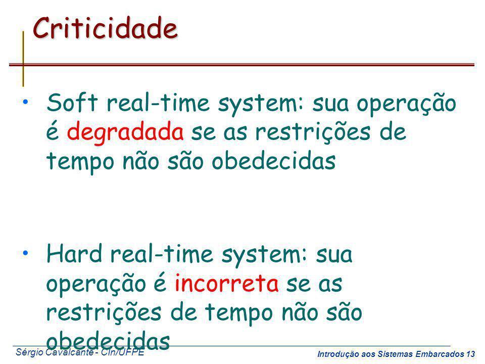 Sérgio Cavalcante - CIn/UFPE Introdução aos Sistemas Embarcados 13Criticidade Soft real-time system: sua operação é degradada se as restrições de temp