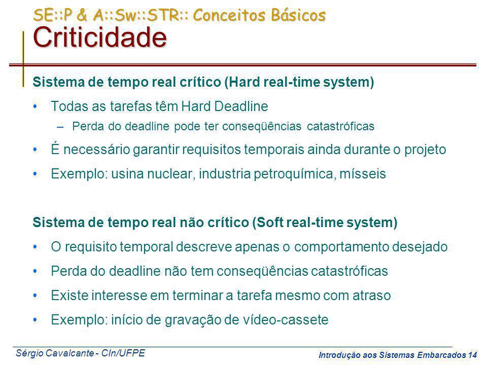 Sérgio Cavalcante - CIn/UFPE Introdução aos Sistemas Embarcados 14 SE::P & A::Sw::STR:: Conceitos Básicos Criticidade Sistema de tempo real crítico (H