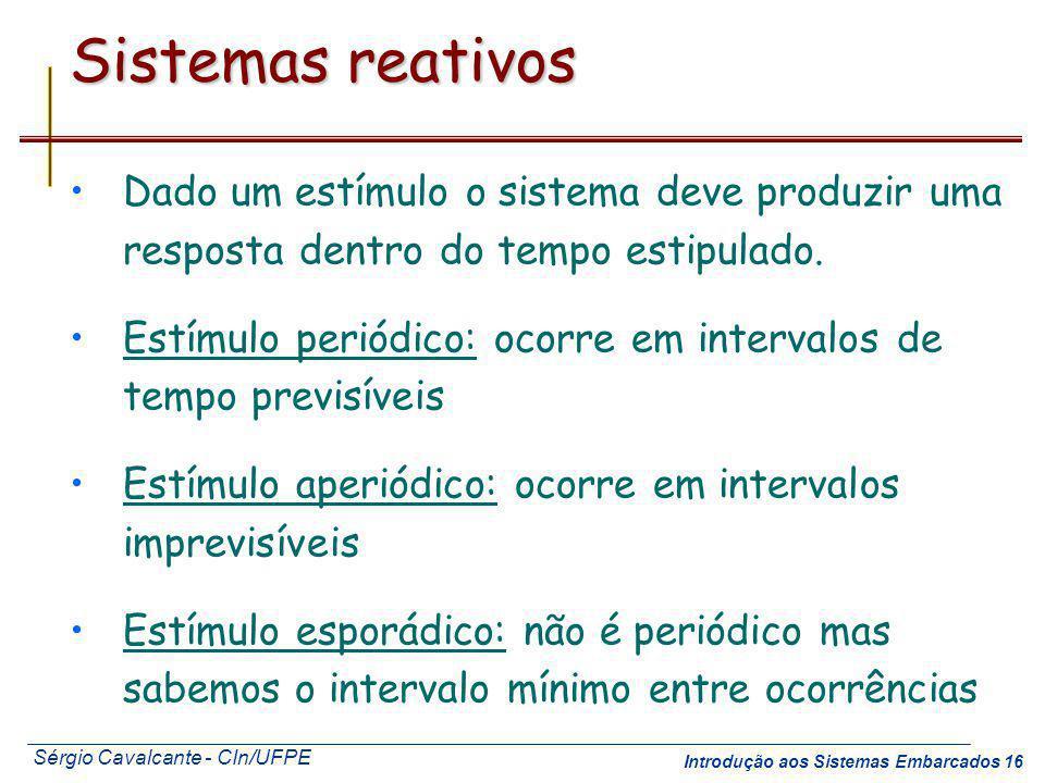 Sérgio Cavalcante - CIn/UFPE Introdução aos Sistemas Embarcados 16 Sistemas reativos Dado um estímulo o sistema deve produzir uma resposta dentro do t
