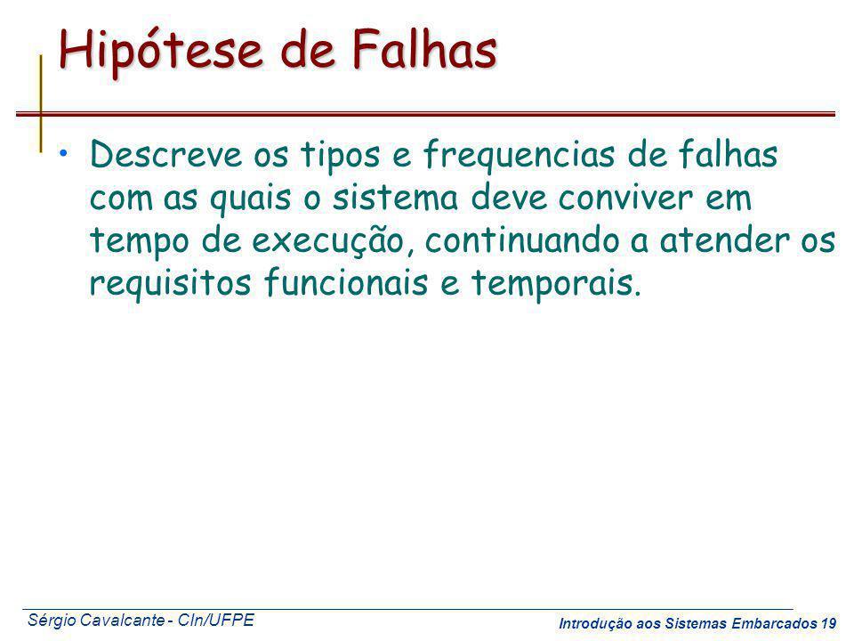 Sérgio Cavalcante - CIn/UFPE Introdução aos Sistemas Embarcados 19 Hipótese de Falhas Descreve os tipos e frequencias de falhas com as quais o sistema