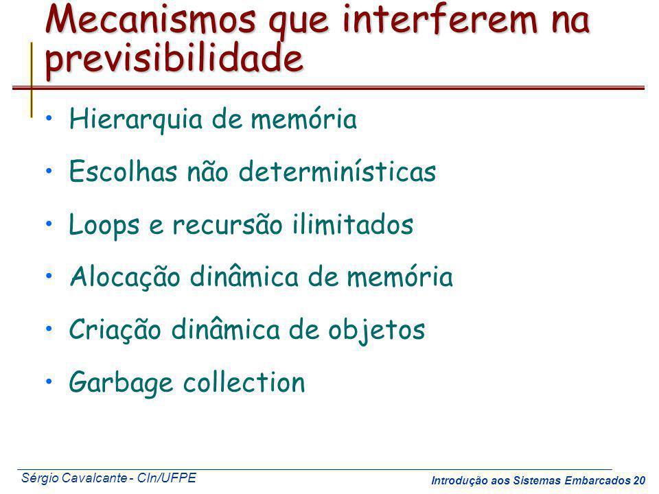 Sérgio Cavalcante - CIn/UFPE Introdução aos Sistemas Embarcados 20 Mecanismos que interferem na previsibilidade Hierarquia de memória Escolhas não det