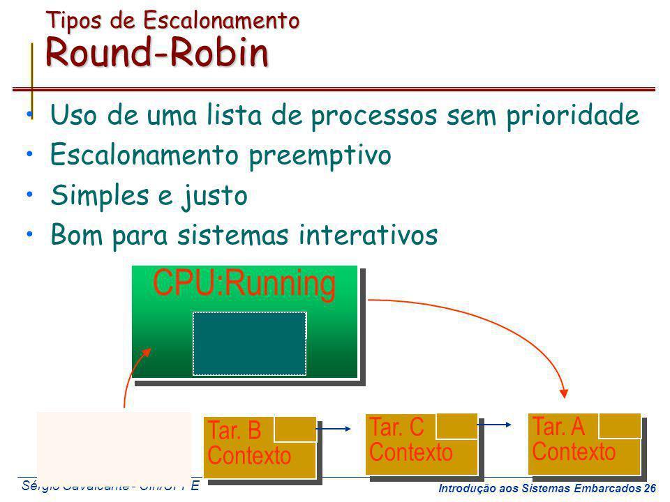 Sérgio Cavalcante - CIn/UFPE Introdução aos Sistemas Embarcados 26 Tipos de Escalonamento Round-Robin Uso de uma lista de processos sem prioridade Esc
