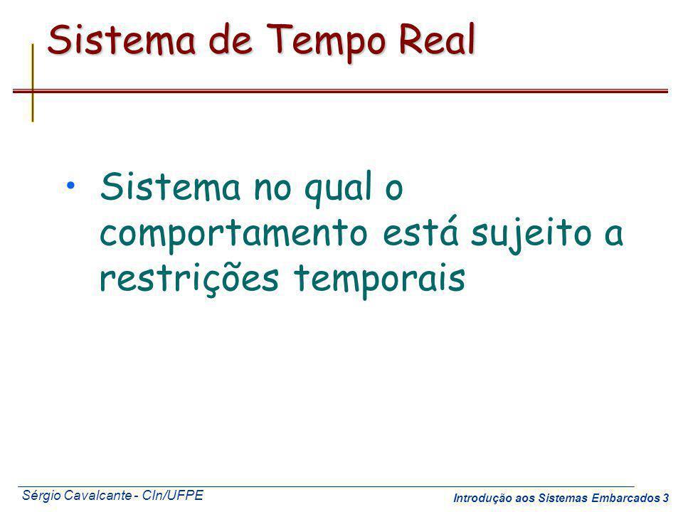 Sérgio Cavalcante - CIn/UFPE Introdução aos Sistemas Embarcados 3 Sistema de Tempo Real Sistema no qual o comportamento está sujeito a restrições temp