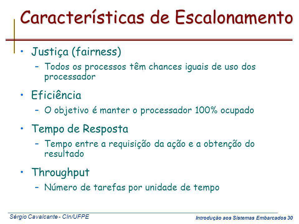 Sérgio Cavalcante - CIn/UFPE Introdução aos Sistemas Embarcados 30 Características de Escalonamento Justiça (fairness) –Todos os processos têm chances