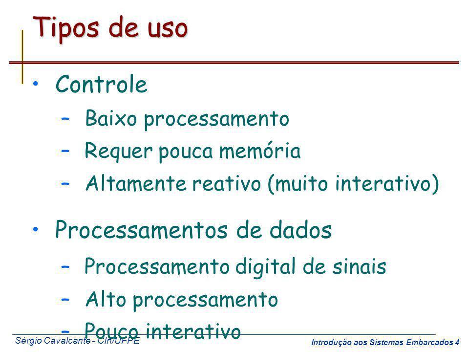 Sérgio Cavalcante - CIn/UFPE Introdução aos Sistemas Embarcados 4 Tipos de uso Controle –Baixo processamento –Requer pouca memória –Altamente reativo