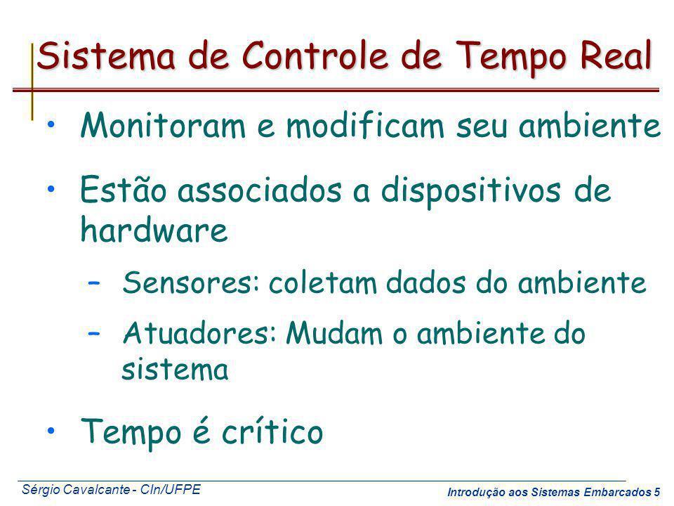 Sérgio Cavalcante - CIn/UFPE Introdução aos Sistemas Embarcados 5 Sistema de Controle de Tempo Real Monitoram e modificam seu ambiente Estão associado