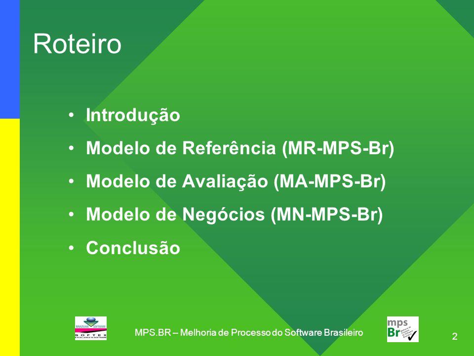 2 Roteiro Introdução Modelo de Referência (MR-MPS-Br) Modelo de Avaliação (MA-MPS-Br) Modelo de Negócios (MN-MPS-Br) Conclusão MPS.BR – Melhoria de Pr