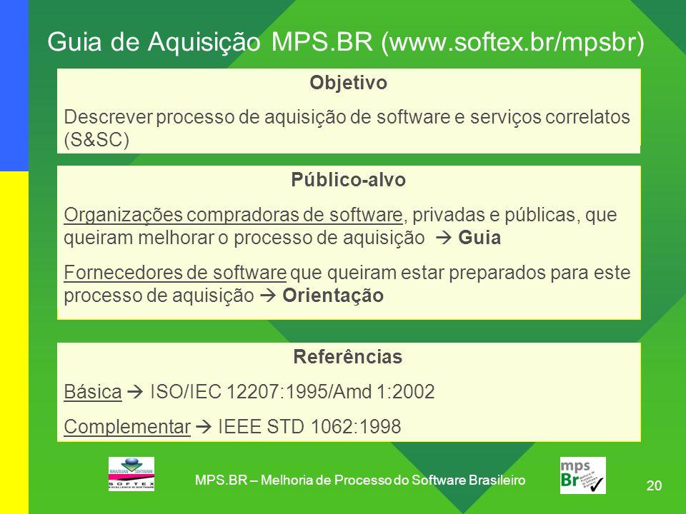 20 Guia de Aquisição MPS.BR (www.softex.br/mpsbr) Referências Básica  ISO/IEC 12207:1995/Amd 1:2002 Complementar  IEEE STD 1062:1998 Objetivo Descre