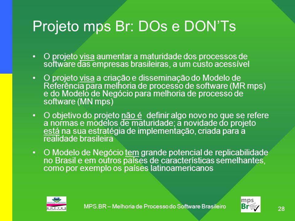 28 Projeto mps Br: DOs e DON'Ts O projeto visa aumentar a maturidade dos processos de software das empresas brasileiras, a um custo acessível O projet