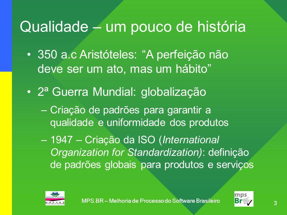 14 Modelo MR MPS: 7 Níveis de Maturidade Baseado no CMMI e SPICE, em estágios, níveis 2 a 5 7 níveis de maturidade: áreas de processo, objetivos e práticas A - Em Otimização B - Gerenciado Quantitativamente C - Definido D - Largamente Definido E - Parcialmente Definido F - Gerenciado G - Parcialmente Gerenciado MPS.BR – Melhoria de Processo do Software Brasileiro