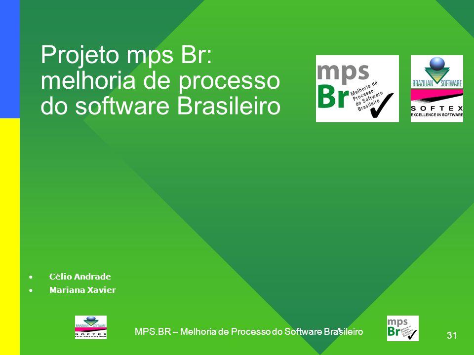 31 Projeto mps Br: melhoria de processo do software Brasileiro Célio Andrade Mariana Xavier MPS.BR – Melhoria de Processo do Software Brasileiro
