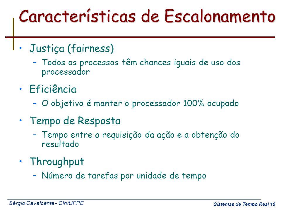 Sérgio Cavalcante - CIn/UFPE Sistemas de Tempo Real 10 Características de Escalonamento Justiça (fairness) –Todos os processos têm chances iguais de u